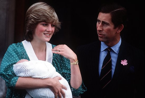 Princess Diana and Prince Charles with baby Prince William