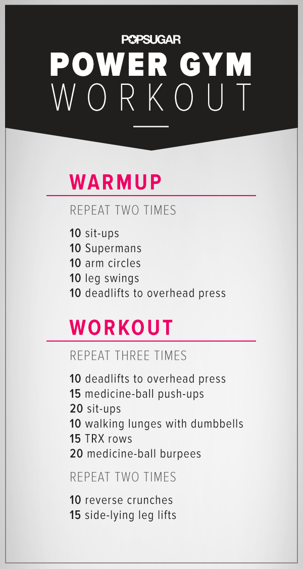 picture about Printable Workouts named A Printable Exercise routine toward Choose towards the Fitness center POPSUGAR Exercise
