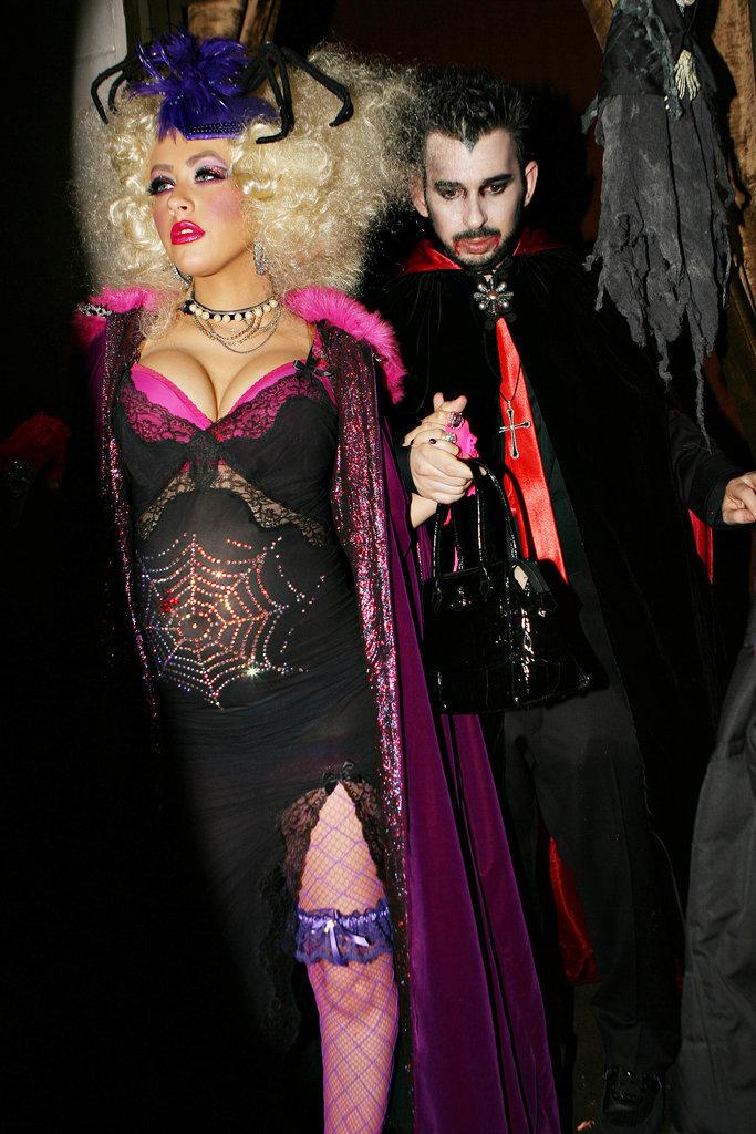 Christina Aguilera and Jordan Bratman as a Spider Woman and Dracula