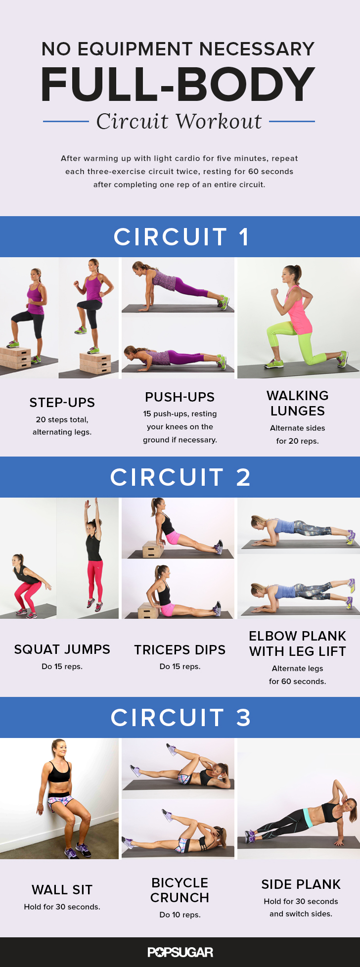 Printable Total-Body No-Equipment Workout | POPSUGAR Fitness