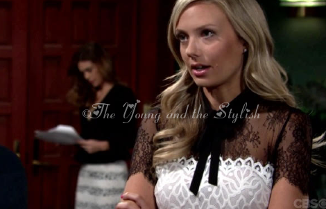 abby newman black and white lace bow dress the young and the restless