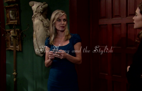 ashley abbott teal dress the young and the restless