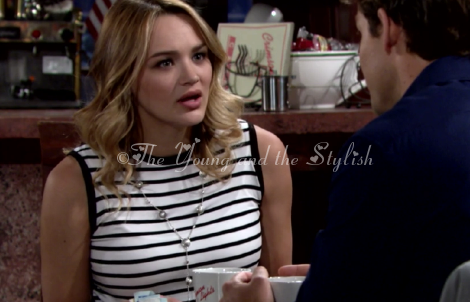 summer newman black and white stripe top the young and the restless
