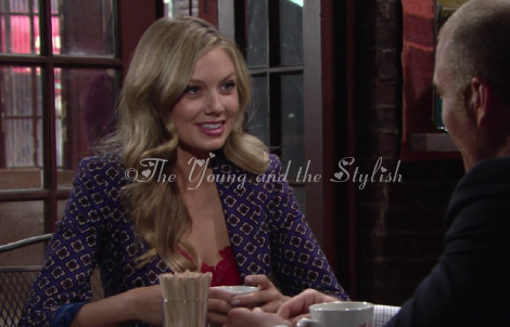 abby newman blue printed jacket the young and the restless