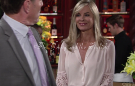 ashley abbott beige lace blouse the young and the restless