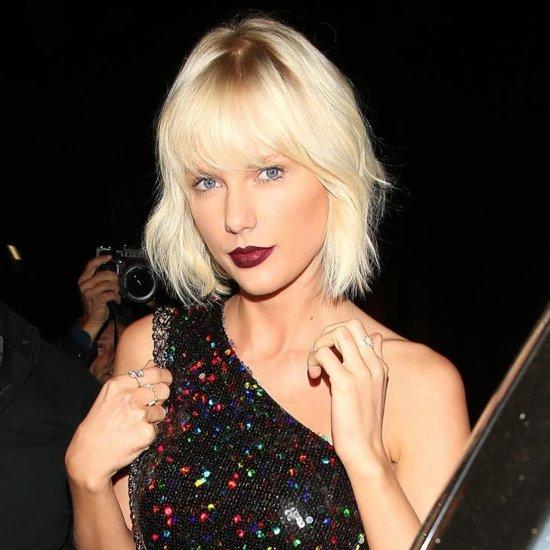 Taylor Swift's Bleach Blonde Hair and Dark Lips