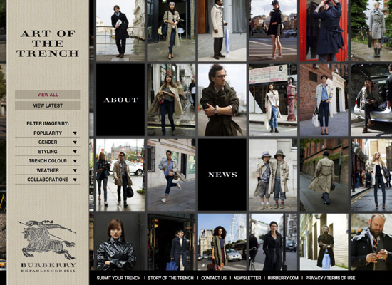 attractive price new specials shop for original Burberry Launch Art of the Trench Social Networking Site ...