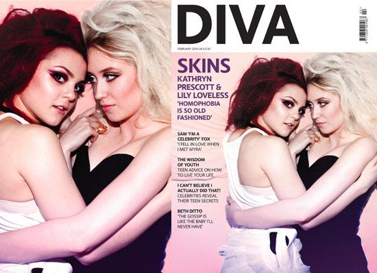 Photos Of Kat Prescott And Lily Loveless Portraying Skins Lesbian Couple Naomi And Emily On Cover Of Diva Magazine Popsugar Celebrity Uk