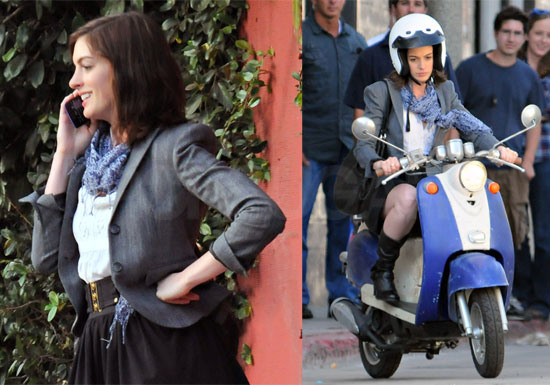 Photos Of Anne Hathaway Filming Valentine S Day On A Scooter