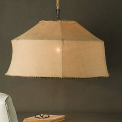 Desire/Acquire: Burlap Chandelier | POPSUGAR Home:The Caravan Trapezoid Chandelier ($987.50) from The Paris Market will save  you just over 300 smackers. But you know me, I'd say go for a DIY before  you buy.,Lighting