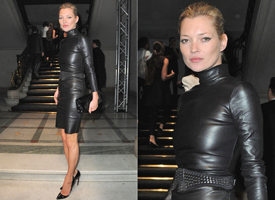 61a519b642e Kate Moss at Paris Fashion Week in Leather Dress