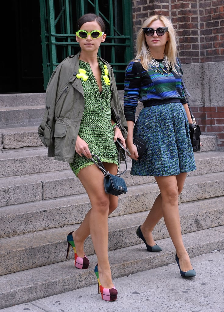 Miroslava Duma worked bold neoprene hues, eye-catching shades, and rainbow platforms like nobody else could.