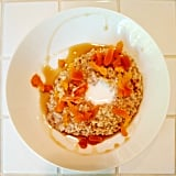 Shameless star Emmy Rossum shared a photo of her clean breakfast: gluten-free oatmeal, skim milk, maple syrup, and dried apricots.