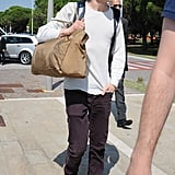 Jesse Eisenberg arrived at the Venice airport.