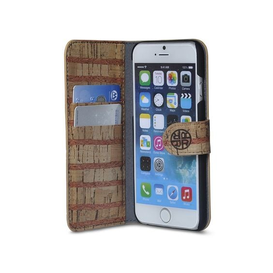 The iPhone 6S wallet case ($45) is made of durable cork, a sustainable material.