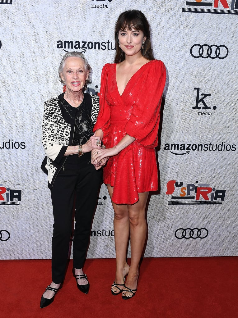 Dakota Johnson had a very special date as she attended the LA premiere of Suspiria on Wednesday: her famous grandmother, Tippi Hedren. The two looked cute as can be as they smiled for photographers and held hands on the red carpet. While the Fifty Shades Freed actress is getting ready to give us nightmares as Susie in the upcoming remake of the 1977 film, her grandma is a horror film legend. The 88-year-old actress, who is Melanie Griffith's mother, is best known for starring in Alfred Hitchcock's The Birds in 1963. Looks like Dakota is following in her grandmother's footsteps. See more photos of their sweet outing ahead.       Related:                                                                                                           The Scariest Horror Movie From the '70s Is Being Remade — Here's Your Chilling First Look