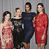 Katie Holmes posed for a snap with Anna Kendrick, Sarah Paulson, and Tyra Banks at the Marchesa event on Wednesday.