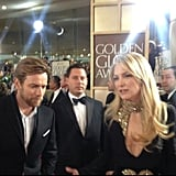 Kate Hudson looked hot in an Alexander McQueen gown .  Source: Instagram user goldenglobes