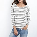 Helena Heather Stripe Linen Drop Shoulder Tee ($99)