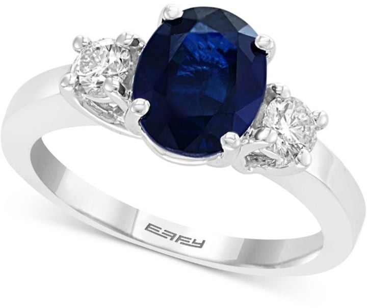 Effy Gemstone Sapphire and Diamond Engagement Ring in 18k White Gold