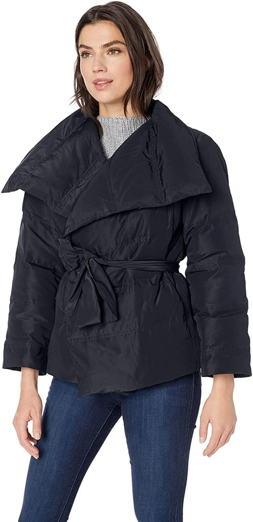 Lark & Ro Long Sleeve Short Puffer Coat with Wrap in Black