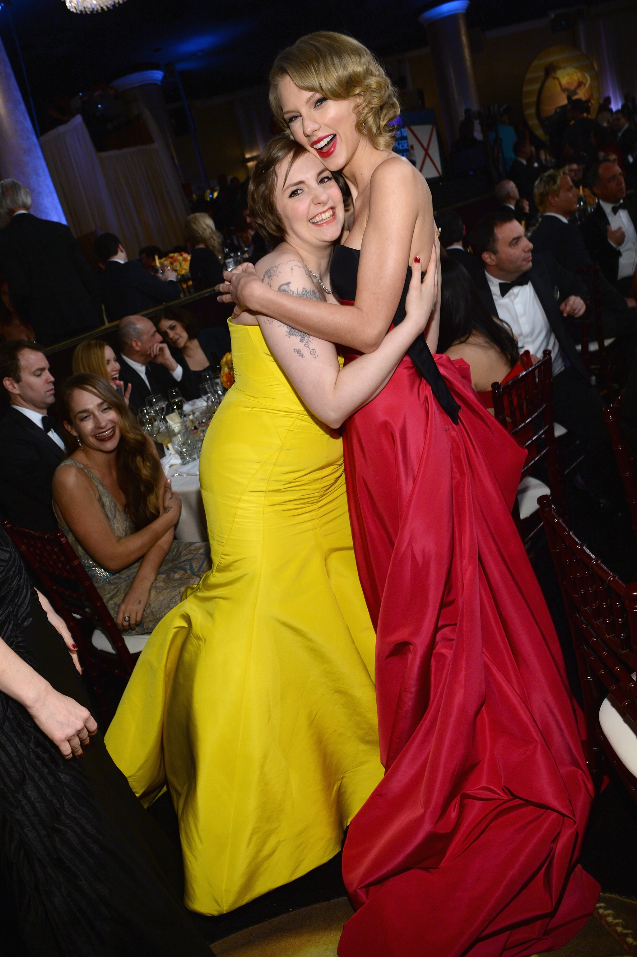 Taylor Swift and Lena Dunham had a girls' moment during the show.  Source: Larry Busacca/NBC/NBCU Photo Bank/NBC