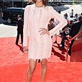 Zoe Saldana posed in her Salvatore Ferragamo dress.