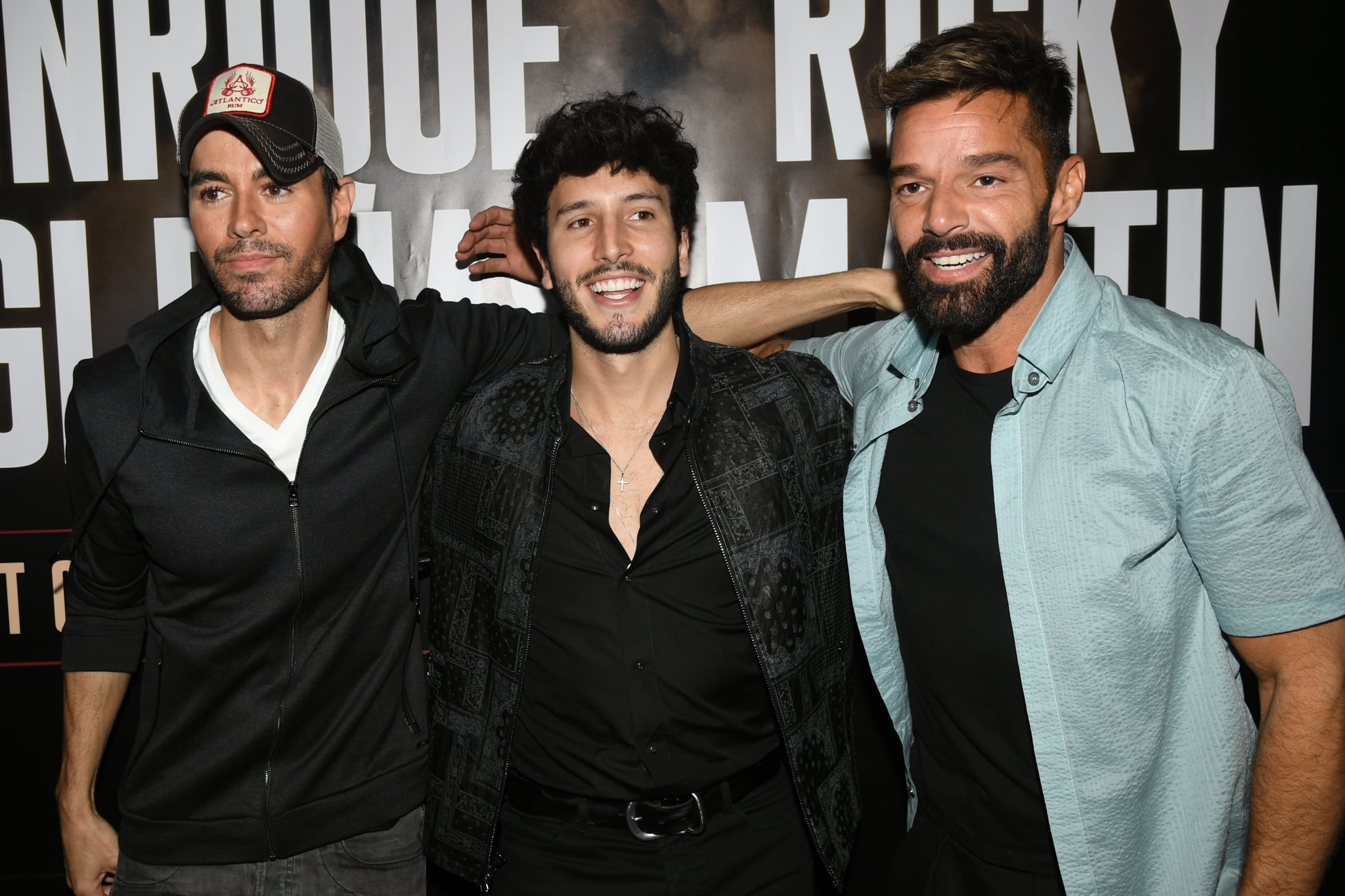 WEST HOLLYWOOD, CALIFORNIA - MARCH 04: (L-R) Enrique Iglesias, Sebastián Yatra and Ricky Martin hold a press conference at Penthouse at the London West Hollywood on March 4, 2020 in West Hollywood, California. (Photo by Kevin Winter/Getty Images)