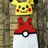Baby Pikachu Hat and Pokéball Overalls