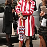 Candy striper gone glam, these red and white stripes look especially eye-catching against rhinestone embellishments and ankle-strap Valentino heels.