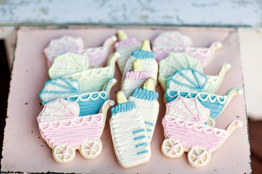 baby bottle and baby buggy cookies  vintagethemed baby shower, Baby shower invitation