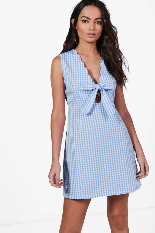 Boohoo Georgie Gingham Tie Front Skater Dress