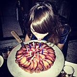 Alexa Chung celebrated her birthday with a tart. Source: Instagram user poppydelevingne