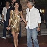 George and Amal arrived to the launch of Casamigos Tequila in 2015. Amal wore a gold Vionnet minidress.