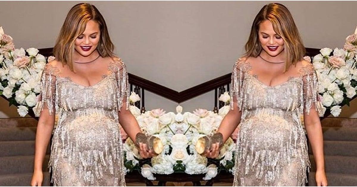 Chrissy Teigen\'s Silver Fringe Dress | POPSUGAR Fashion