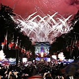 Fireworks lit up the sky at the Diamond Jubilee Concert at Buckingham Palace.