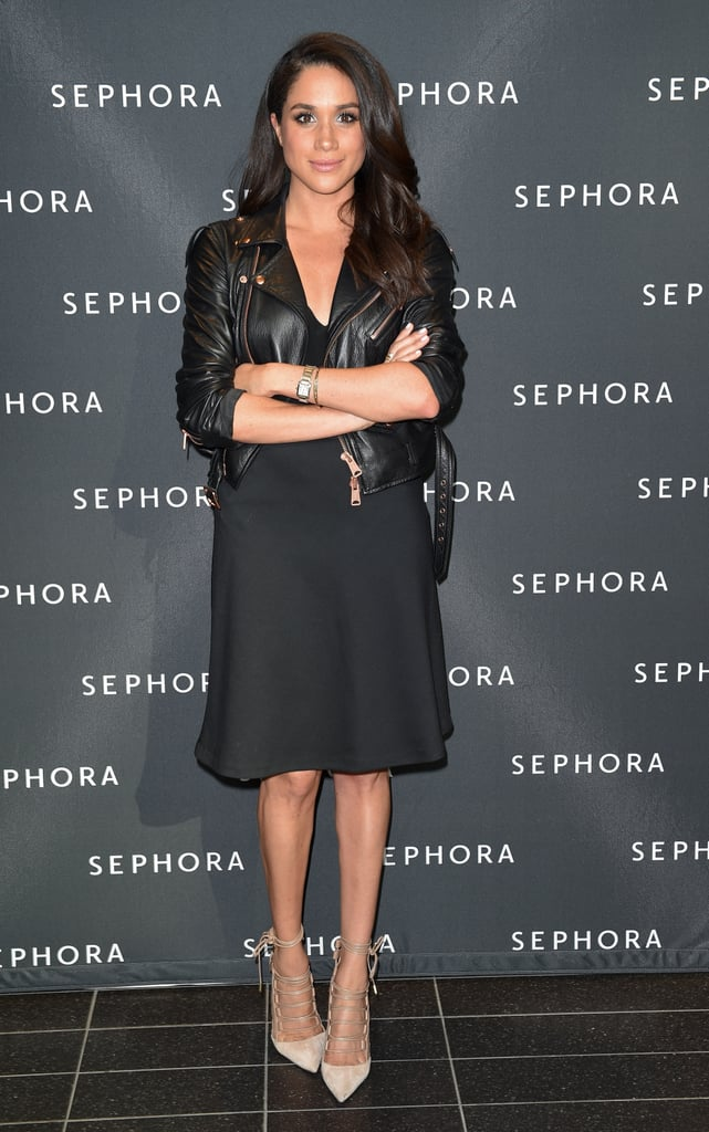 For a beauty event in 2016, she wore a little black dress under a black leather jacket.
