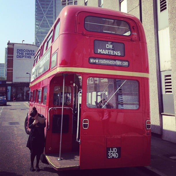 Across the pond, we hopped aboard a red double-decker bus to tour the Dr. Martens factory.