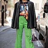 Opt For a '70s Look With Wide-Leg Trousers and a Vintage Tee