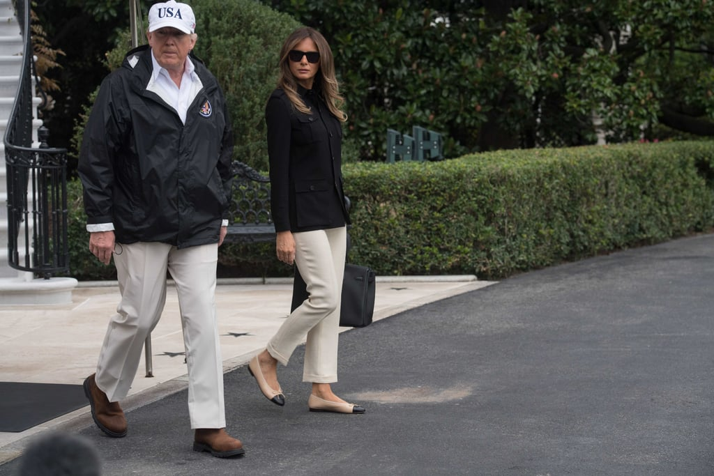 It seems Melania Trump thought twice before wearing heels to visit another  area devastated by a