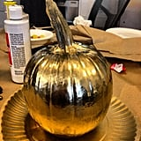 We tried our hand at creating fashion pumpkins for Halloween. It's amazing what a bit of spray paint can do.