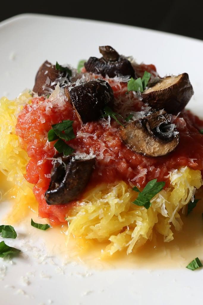 Spaghetti Squash With Roasted Mushrooms