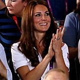 On August 9, Kate wore her white Team GB polo shirt to watch the boxing.