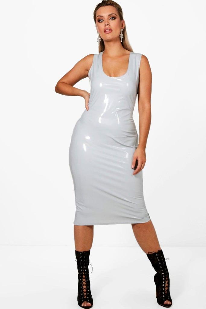 b3e61345248 Boohoo Plus Vinyl Leather Look Midi Dress