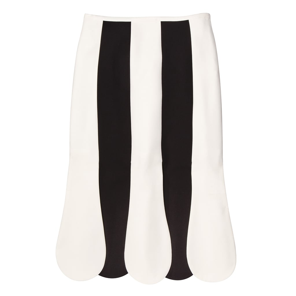 Black and White Stripe Scallop Midi Skirt ($35)