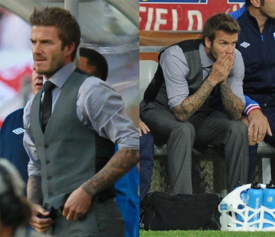 Pictures of David Beckham at the England vs. Slovenia Match During the World Cup