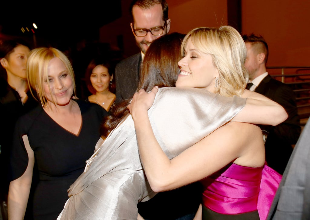 Reese Witherspoon got a giant hug from Angelina Jolie backstage at the Critics' Choice Awards in January 2015.