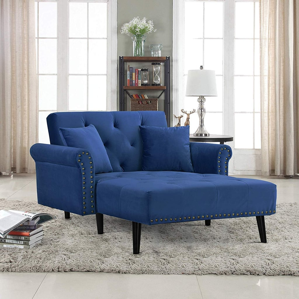 Modern Velvet Fabric Recliner Sleeper Chaise Lounge