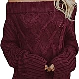 Astylish Knitted Off-the-Shoulder Oversized Sweater in Burgundy