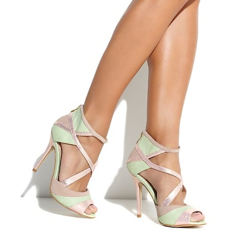 """June Ambrose """"Faye"""" Strappy Pump With a daring python print and unpredictable mixed-media style, these strappy heels bring out the sexy in the office with a pencil skirt or on the town with a sultry sequined dress."""